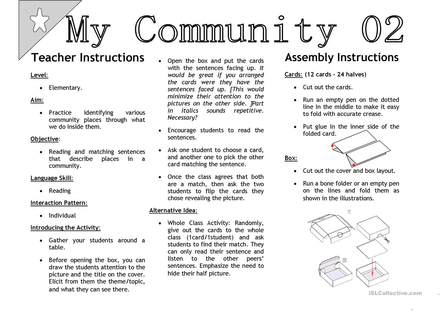 My Community 02 Sentenc Matching Activity Cards