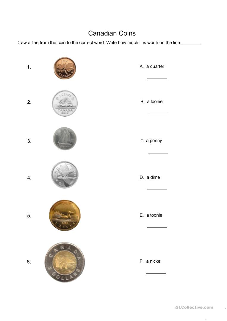 hight resolution of Canadian coins matching worksheet - English ESL Worksheets for distance  learning and physical classrooms