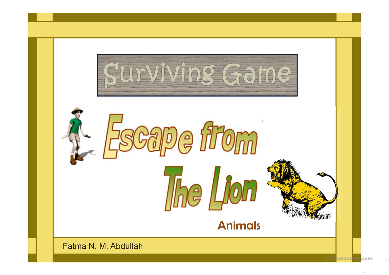 Surviving Game Escape From The Lion Animals Worksheet