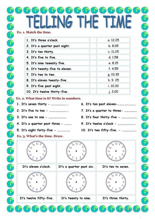 small resolution of TELLING THE TIME - English ESL Worksheets for distance learning and  physical classrooms