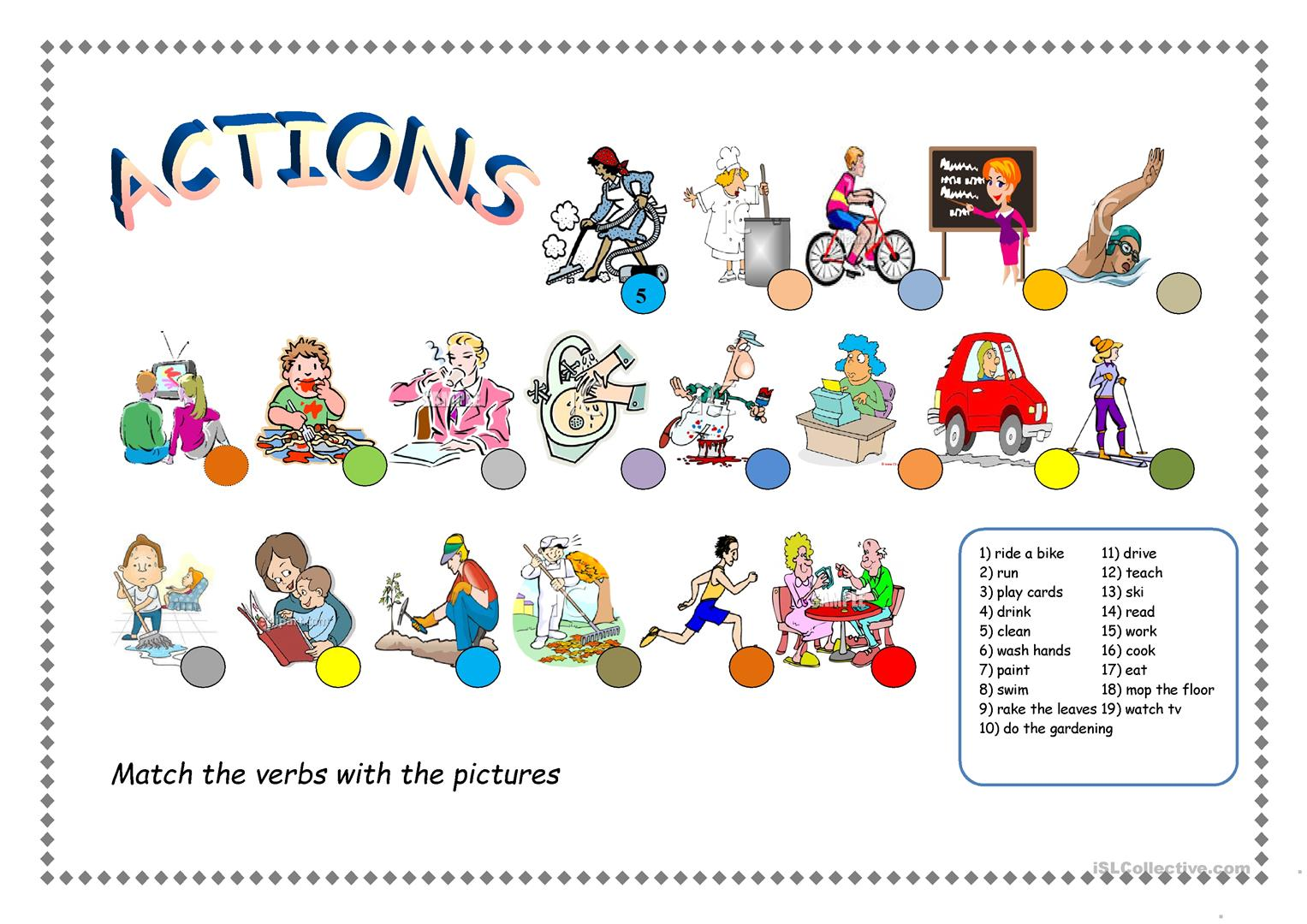 Action Verbs Worksheet
