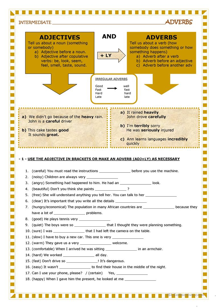 hight resolution of English ESL adverb and adjective worksheets - Most downloaded (29 Results)