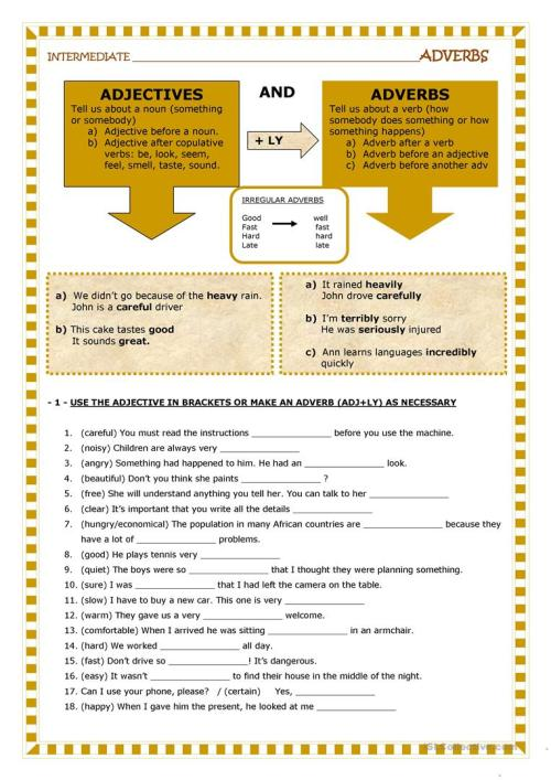 small resolution of English ESL adverb and adjective worksheets - Most downloaded (29 Results)