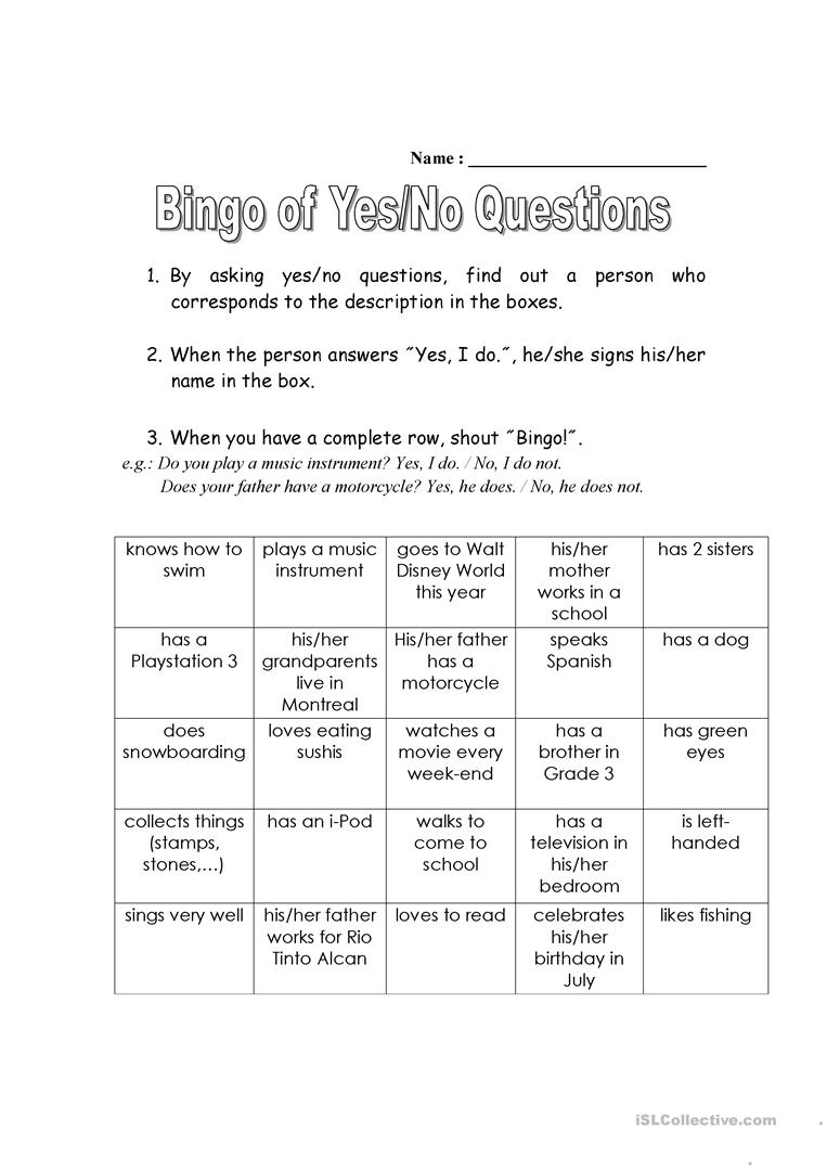 Interesting Yes Or No Questions : interesting, questions, Bingo, Yes-No, Questions, English, Worksheets, Distance, Learning, Physical, Classrooms