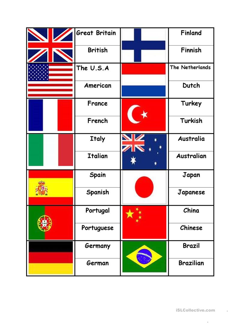 flags countries nationalities matching
