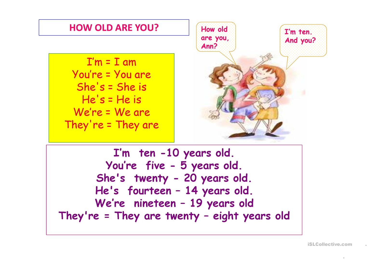 How Old Are You Worksheet