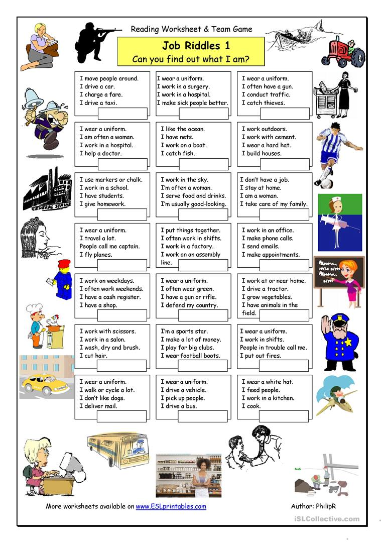 hight resolution of Job Riddles (1) - Easy - English ESL Worksheets for distance learning and  physical classrooms