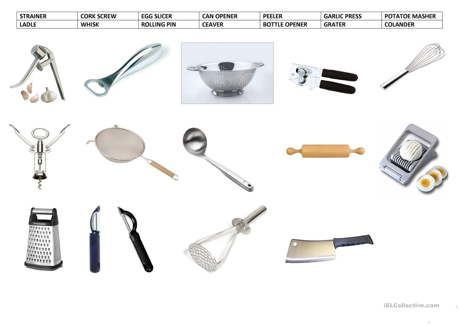 Kitchen Utensils Vocabulary With Pictures Kitchen