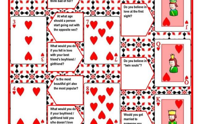 Playing Cards Conversation Game 4 Pages With