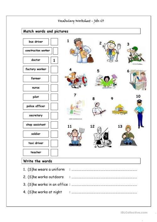 small resolution of Vocabulary Matching Worksheet - Jobs (1) - English ESL Worksheets for  distance learning and physical classrooms