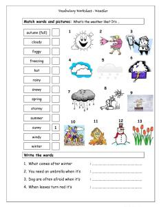 Vocabulary matching worksheet weather also free esl climate worksheets rh enlcollective