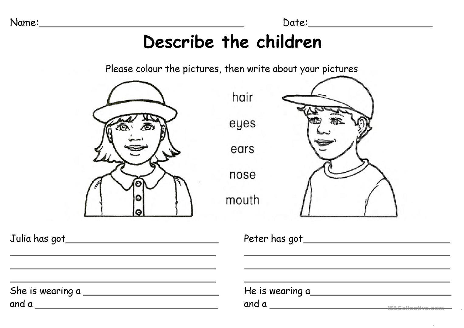 Descriptions Worksheet