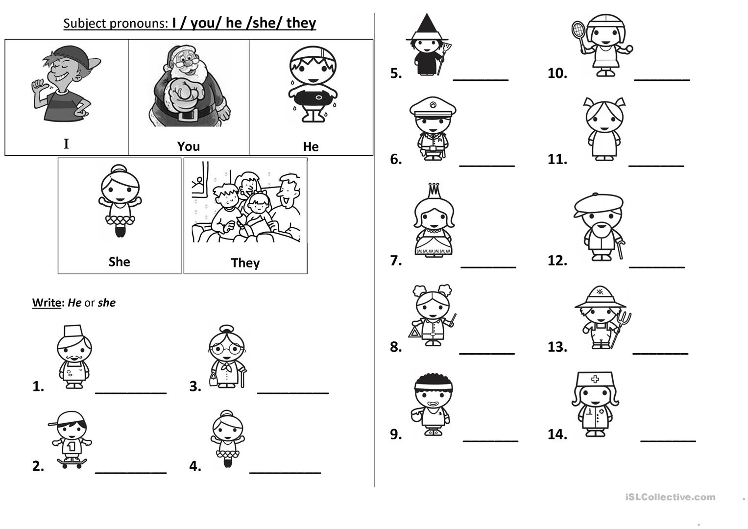Pronoun Worksheet For Preschoolers