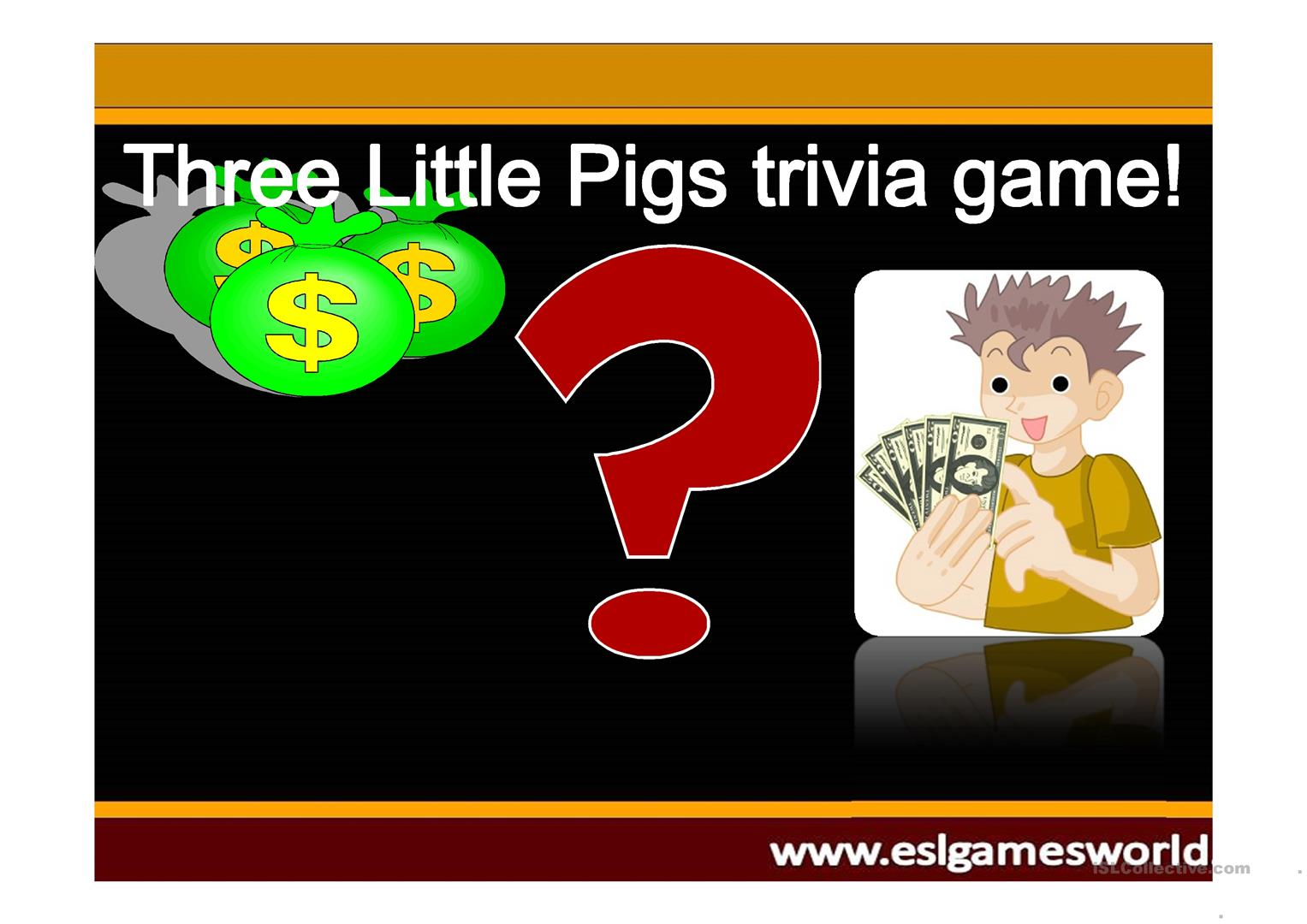 Three Little Pigs Game Jeopardy Worksheet