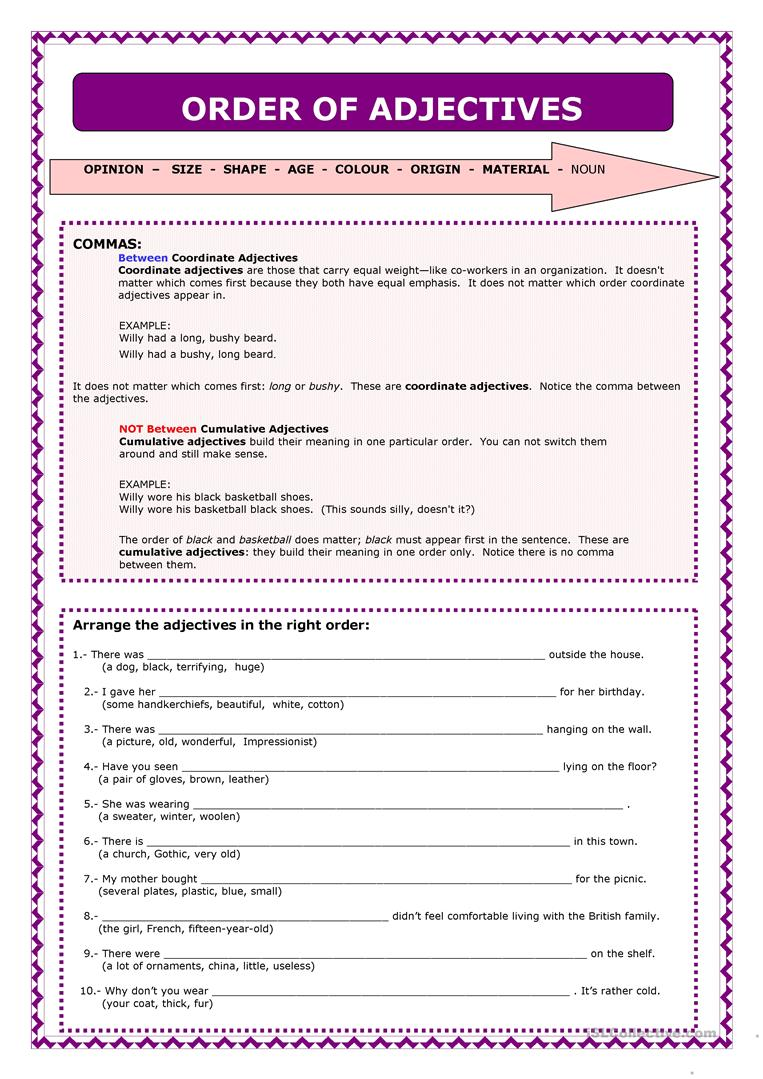hight resolution of English ESL order of adjectives worksheets - Most downloaded (27 Results)