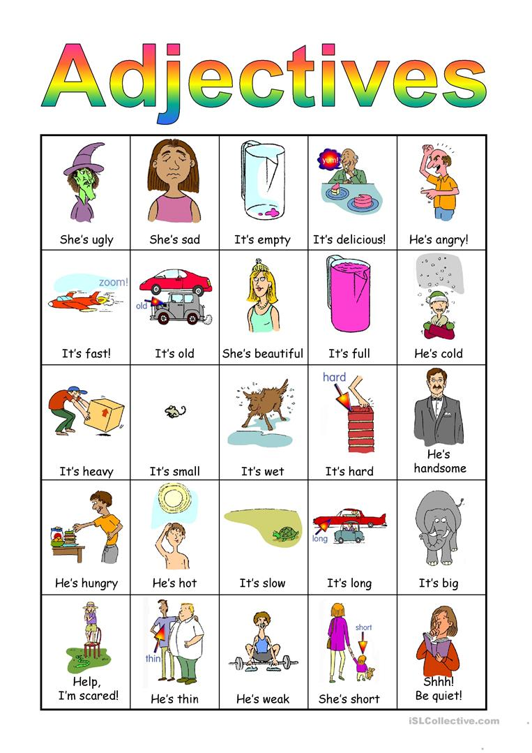 Adjectives Bingo Set Worksheet