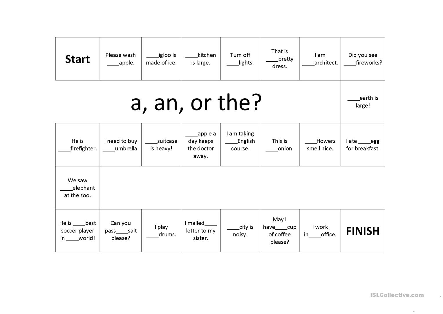 Article A An And The Game Board