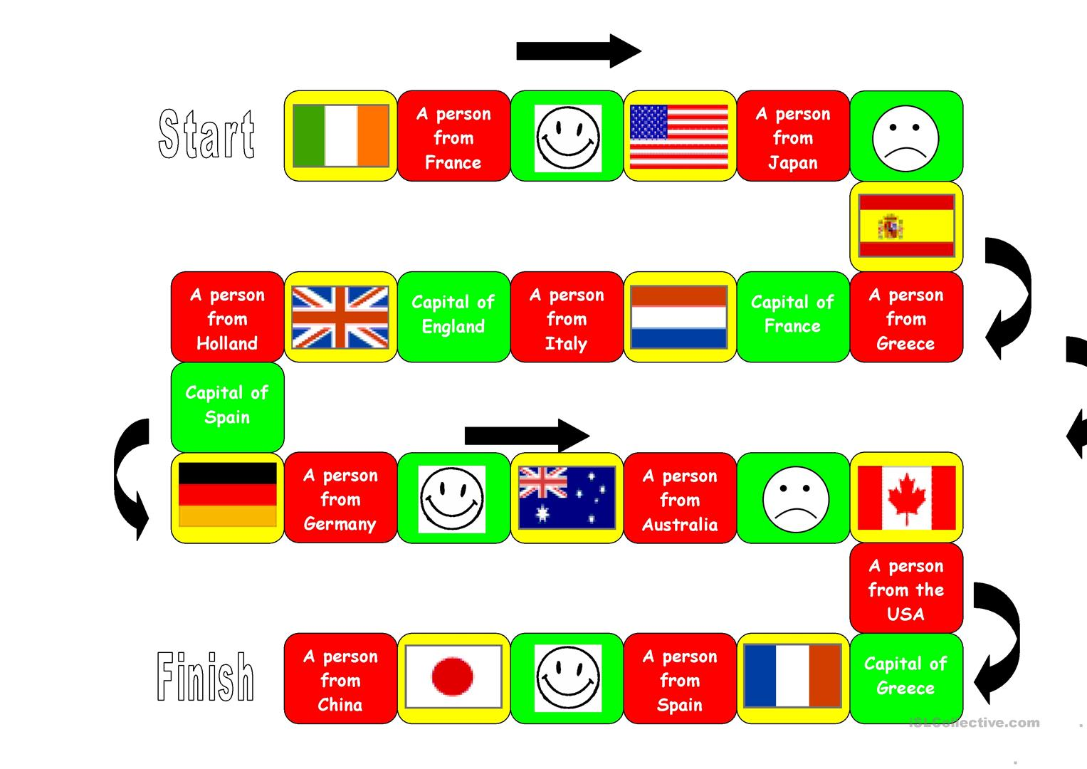 Board Game Flags Capitals Nationalities Worksheet