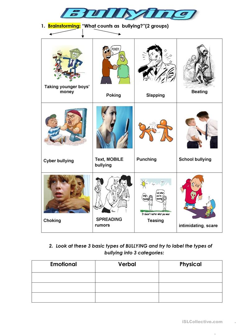 hight resolution of English ESL bullying worksheets - Most downloaded (49 Results)