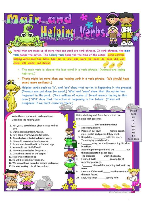 small resolution of Main and Helping Verbs - English ESL Worksheets for distance learning and  physical classrooms