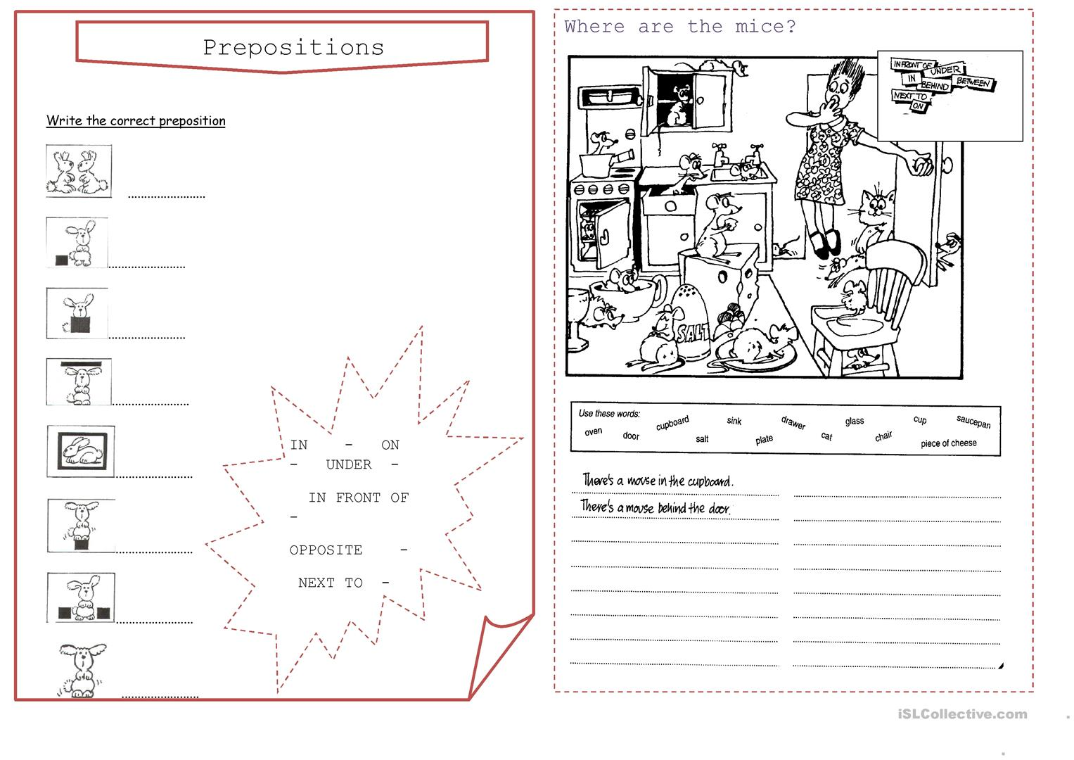 Worksheet Esl Prepositions