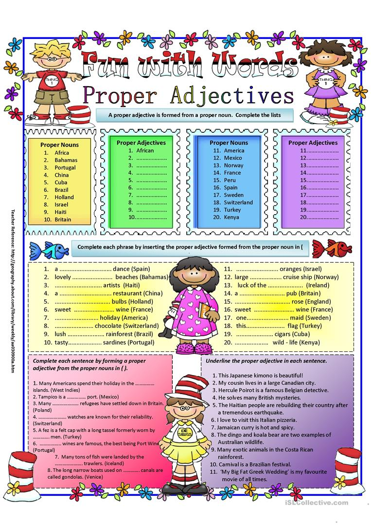 hight resolution of Proper Adjectives - English ESL Worksheets for distance learning and  physical classrooms