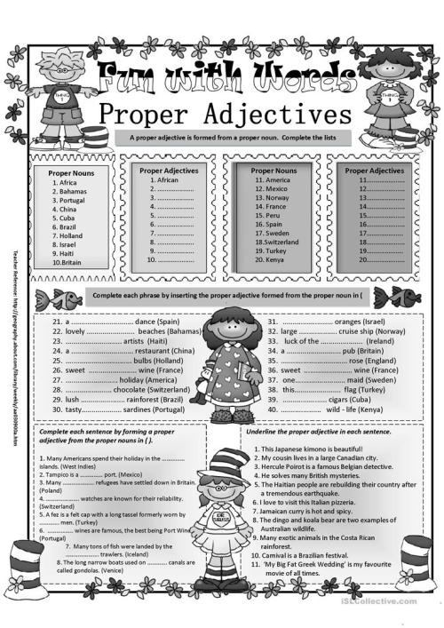 small resolution of Proper Adjectives - English ESL Worksheets for distance learning and  physical classrooms