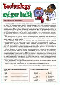 Technology and your health worksheet - Free ESL printable ...