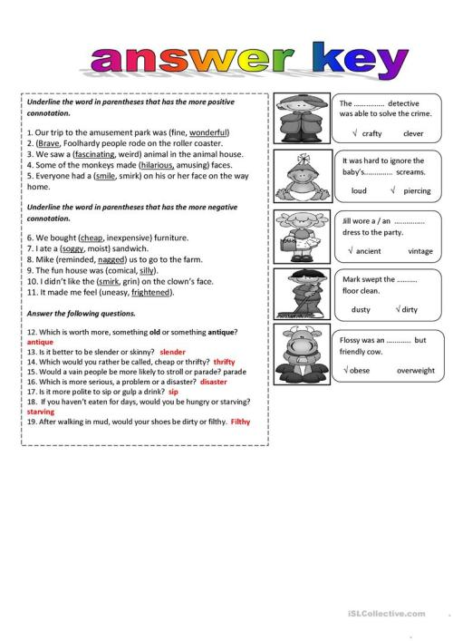 small resolution of connotations and Denotation - English ESL Worksheets for distance learning  and physical classrooms