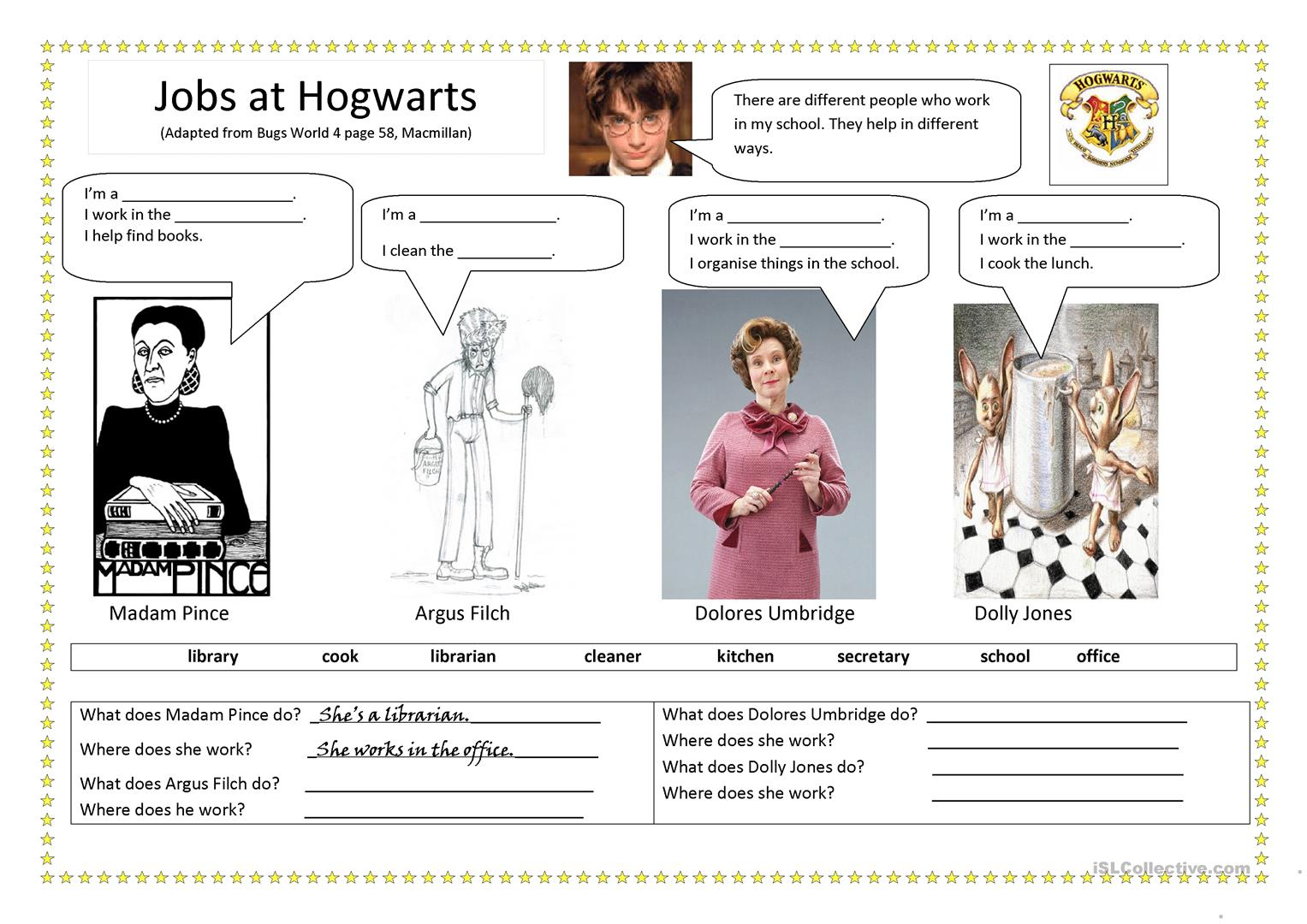 Jobs At Hogwarts Worksheet