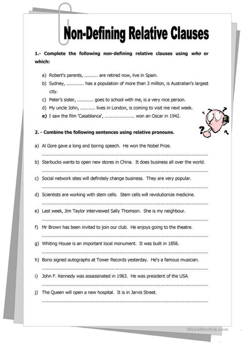 small resolution of English ESL Relative clauses worksheets - Most downloaded (252 Results)