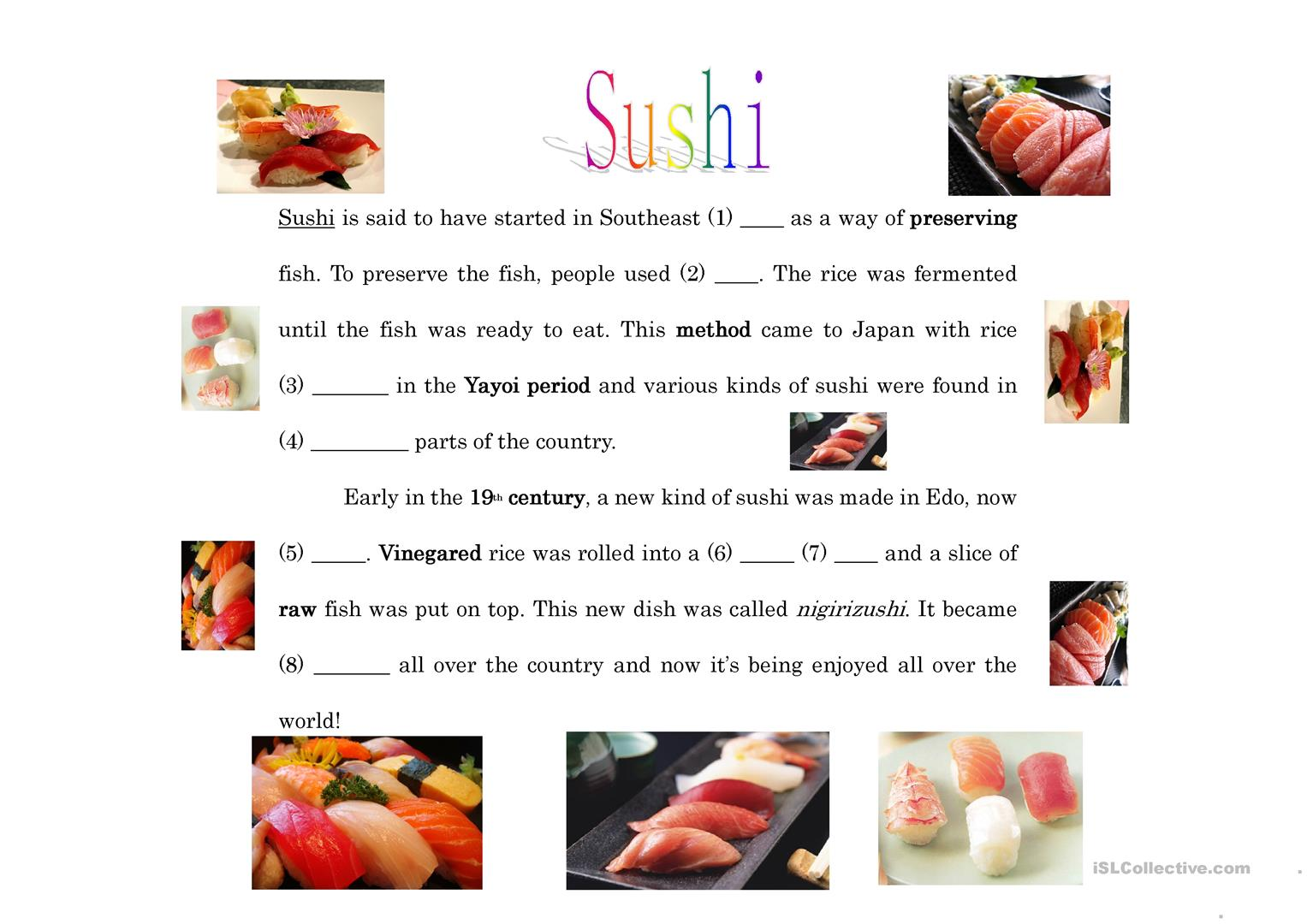 Oral Cloze About Sushi Worksheet