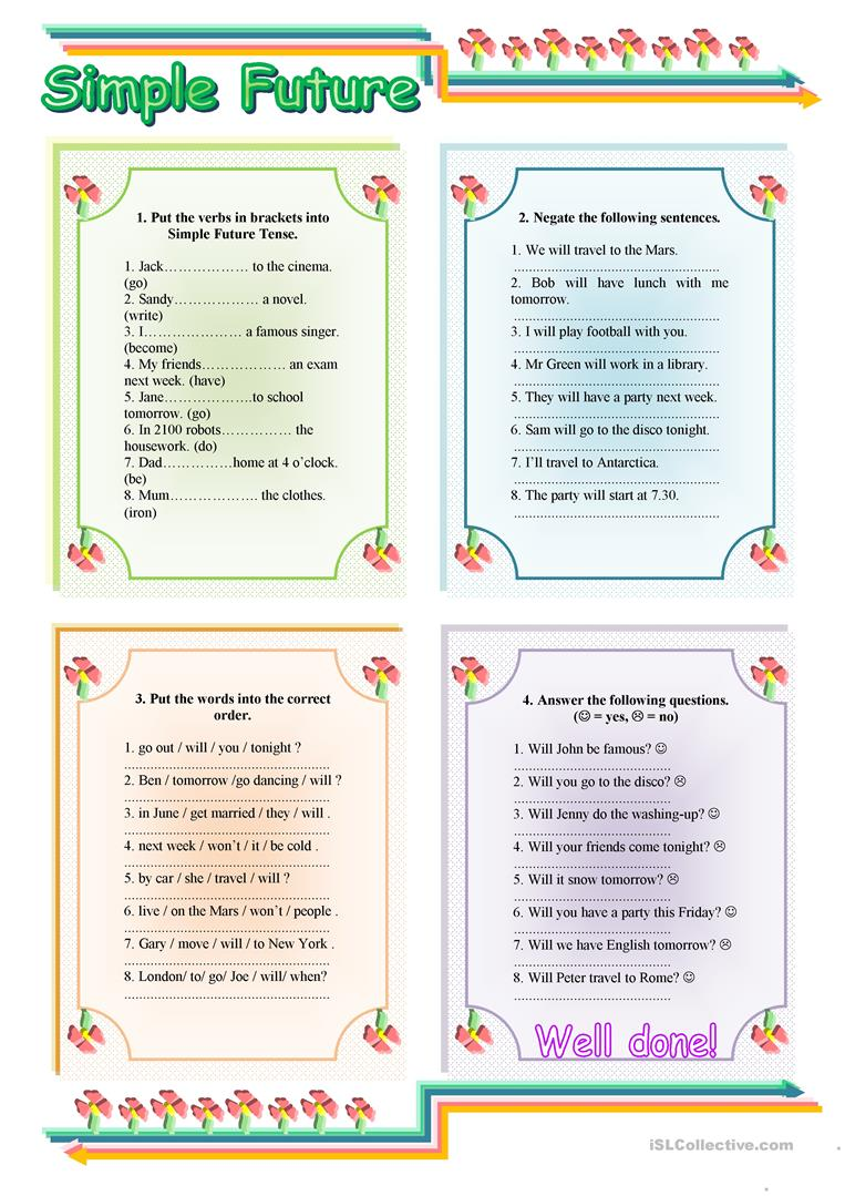 hight resolution of Simple Future Tense - with key - English ESL Worksheets for distance  learning and physical classrooms