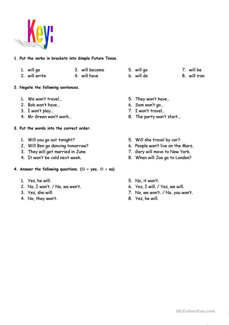 medium resolution of Simple Future Tense - with key - English ESL Worksheets for distance  learning and physical classrooms