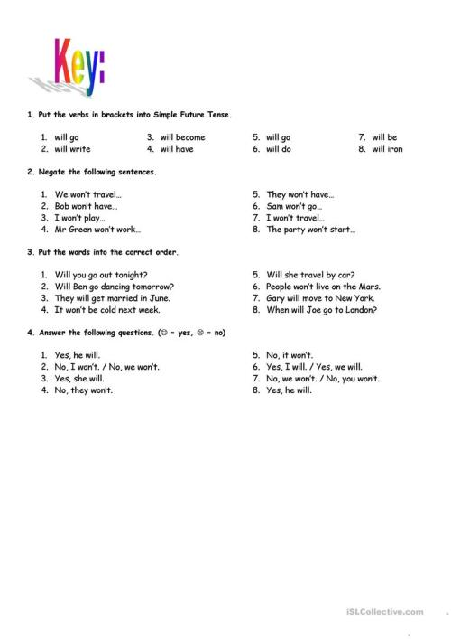 small resolution of Simple Future Tense - with key - English ESL Worksheets for distance  learning and physical classrooms