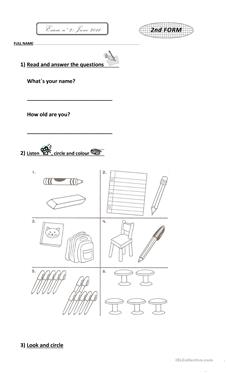 40 FREE ESL elementary test worksheets