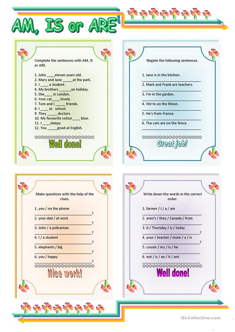 hight resolution of AM - IS - ARE - English ESL Worksheets for distance learning and physical  classrooms
