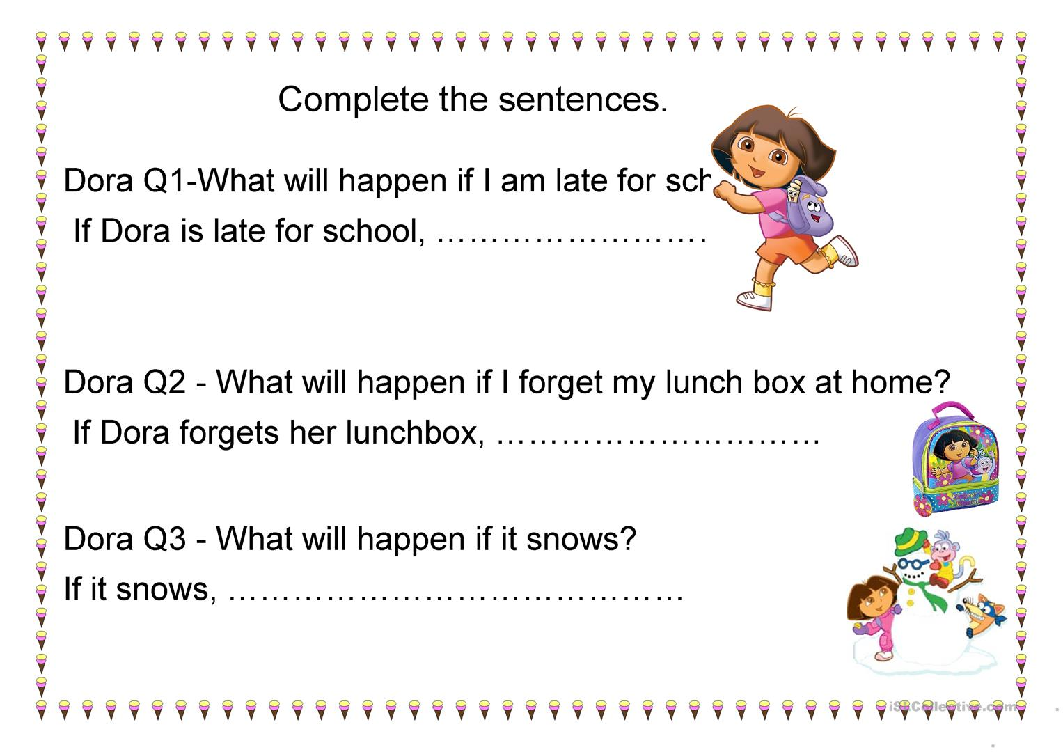 Dora Worksheet 1st Conditional Worksheet