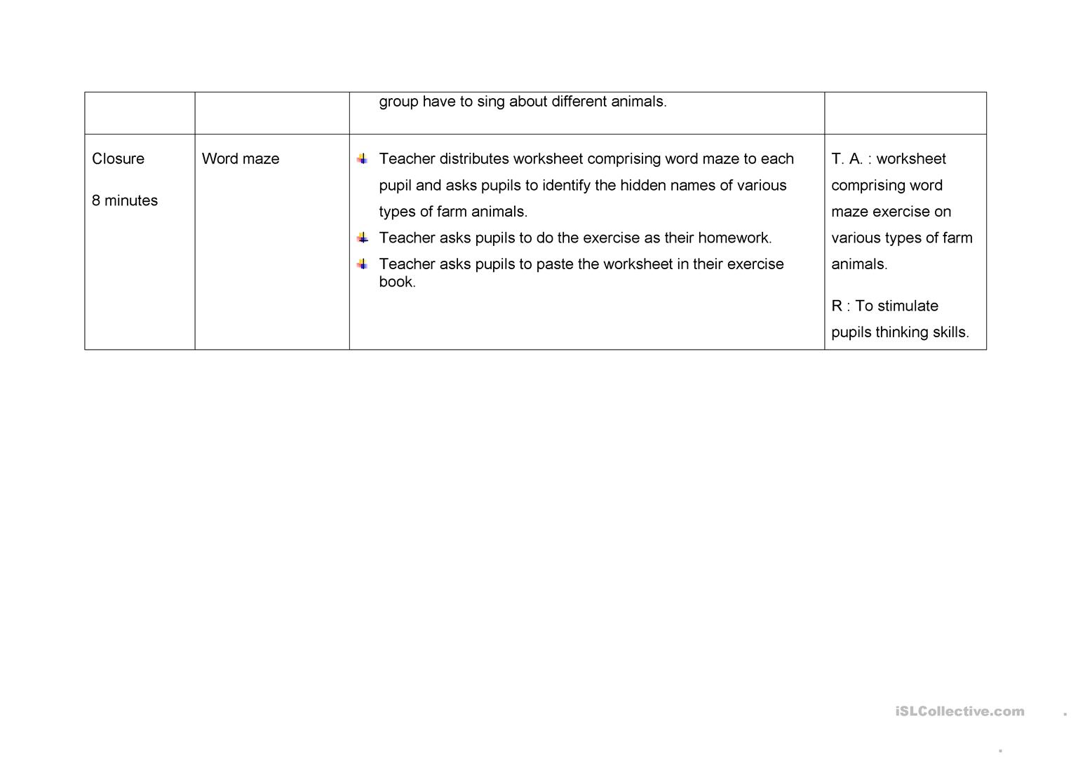 Old Macdonald Lesson Plan Worksheet