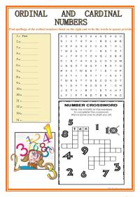 ORDINAL AND CARDINAL NUMBERS worksheet - Free ESL ...