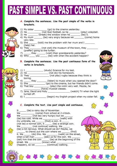 small resolution of Past Simple vs. Past Continuous. - English ESL Worksheets for distance  learning and physical classrooms