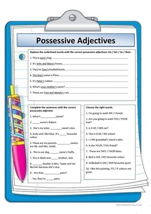 small resolution of English ESL possessive adjectives worksheets - Most downloaded (199 Results)