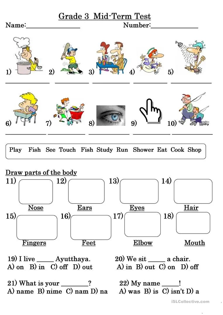 medium resolution of Grade 3 Test - English ESL Worksheets for distance learning and physical  classrooms