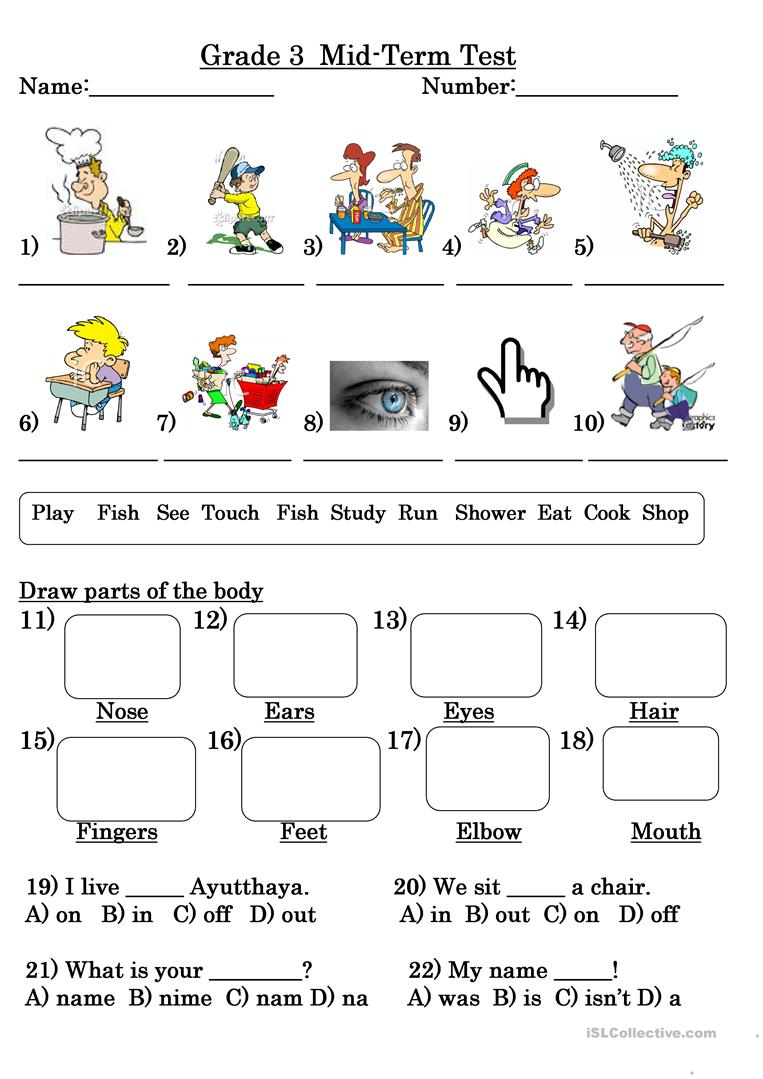 hight resolution of Grade 3 Test - English ESL Worksheets for distance learning and physical  classrooms