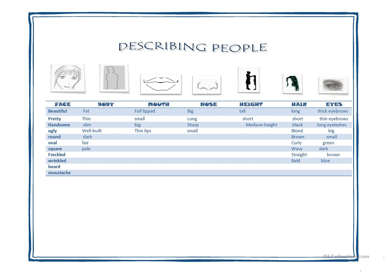 Physical Appearance Vocabulary Worksheet
