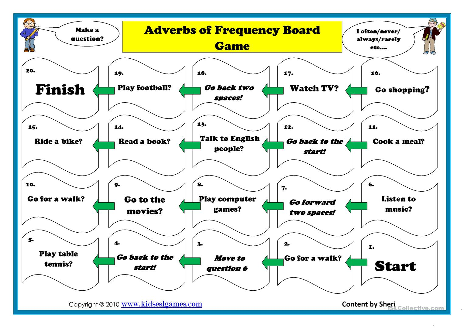 Adverb Of Frequency Board Game Worksheet