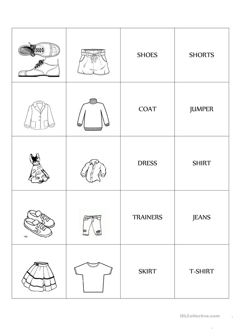 Clothes Memo Test Game Worksheet