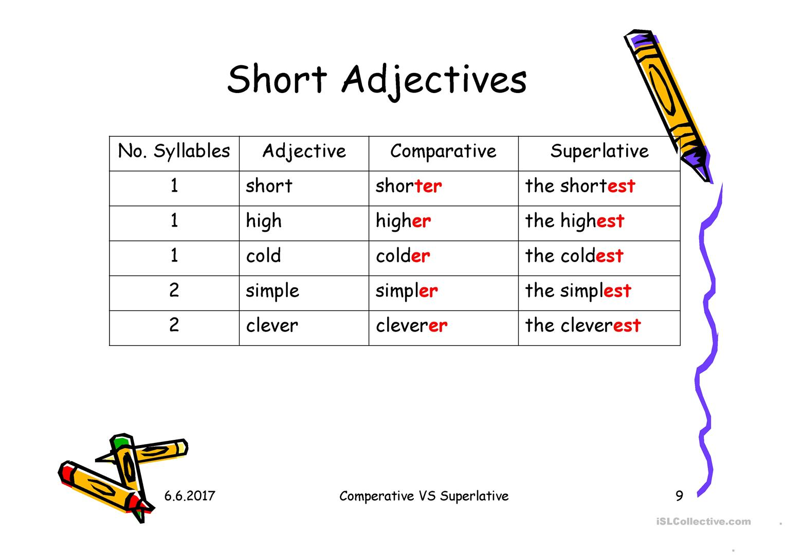 Esl Comparatives Adjectives Worksheet