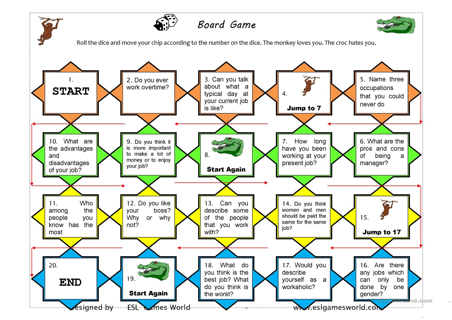 Job Questions Board Game Worksheet