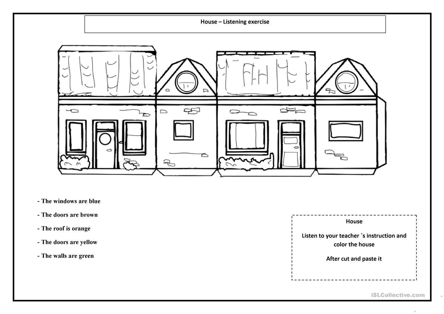 My Little House Worksheet